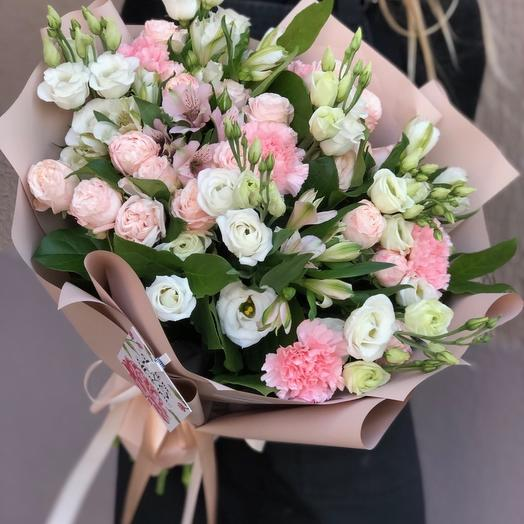 Bouquet of eustoma, carnations and alstomeria the Sorceress