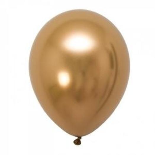 "Q Шар 11""/28 см, хром, золото/Gold"
