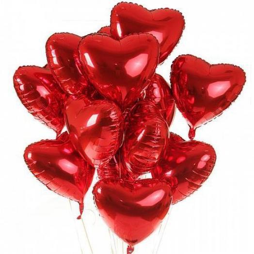 Набор фольгированных сердец (11 шт)