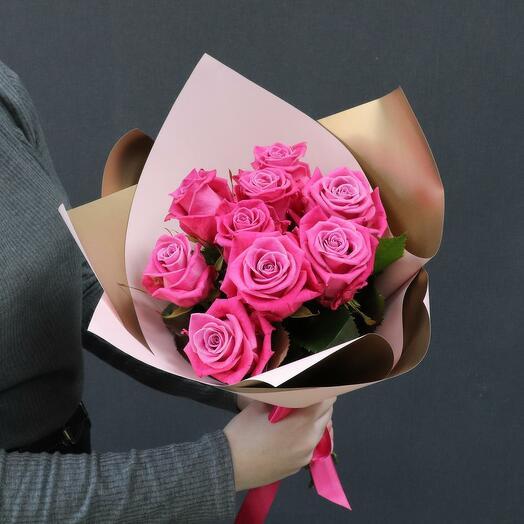 Букет из 9 розовых роз 60 см