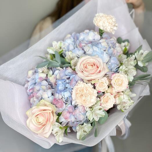 Hydrangeas and bush roses