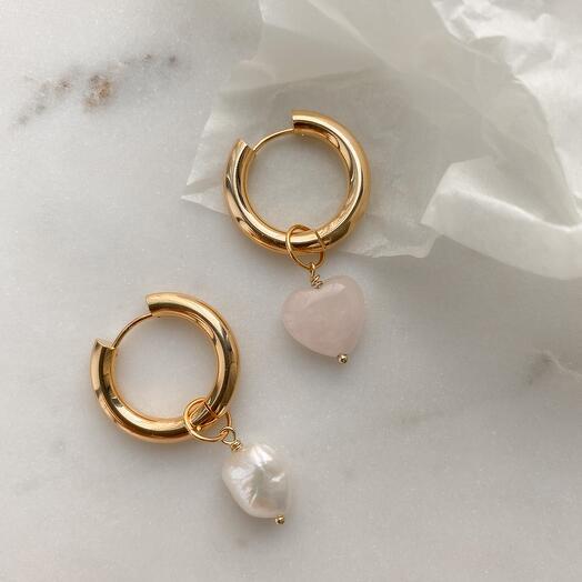 Серьги - кольца Leda hoops жемчуг   розовый кварц
