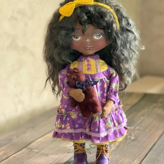 Кукла текстильная , тело-корейский хлопок, волосы шерсть козы, набивка-синтепух, обувь-кожа, лицо- акриловые краски