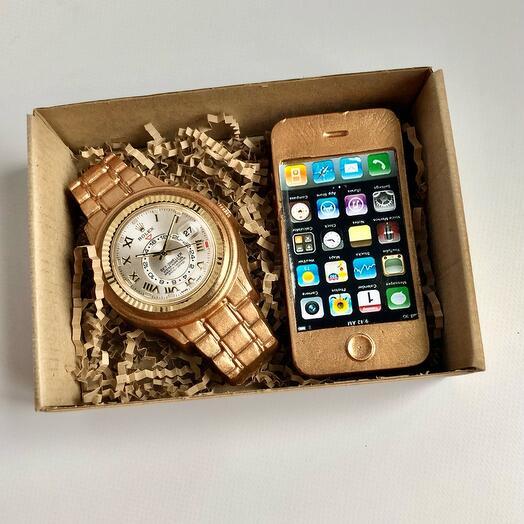 Мыло ручной работы набор часы и телефон
