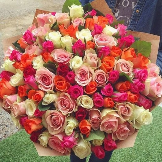 101 роза - Охапка Роз Ассорти: букеты цветов на заказ Flowwow
