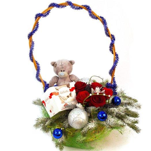 "Корзинка"" новогодний мишка"": букеты цветов на заказ Flowwow"