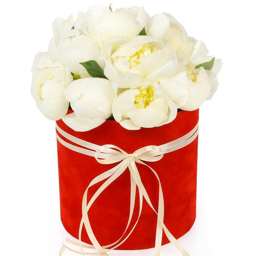 Белые пионы в шляпной коробке: букеты цветов на заказ Flowwow