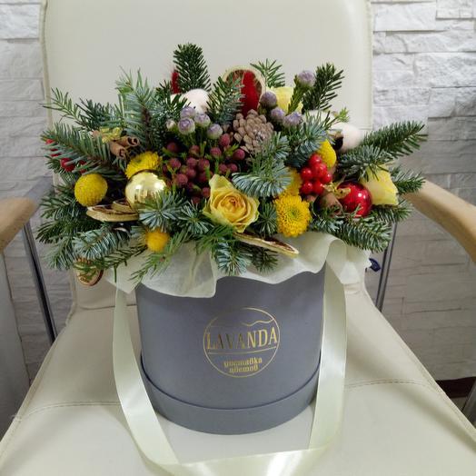 """Шляпная коробка L """" Зимняя сказка"""": букеты цветов на заказ Flowwow"""