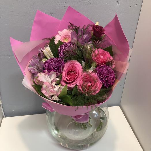 Букет с розой и диантусом: букеты цветов на заказ Flowwow