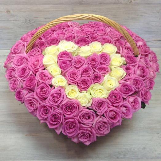 "Корзина из 101 розы ""Розовое сердце"": букеты цветов на заказ Flowwow"
