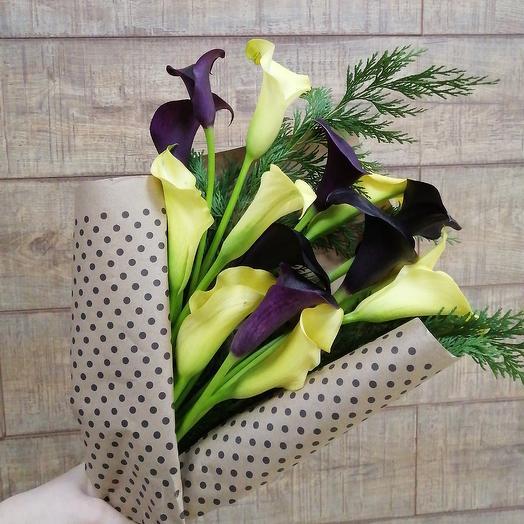 Стильные необыкновенные каллы: букеты цветов на заказ Flowwow