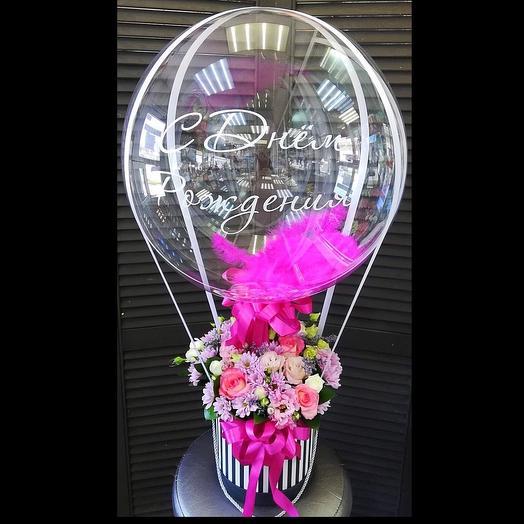 Цветы в коробочке с шаром баблс