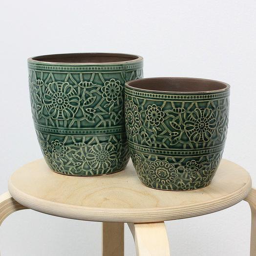 Керамическое Кашпо с Паттерном Антик Зеленое d14