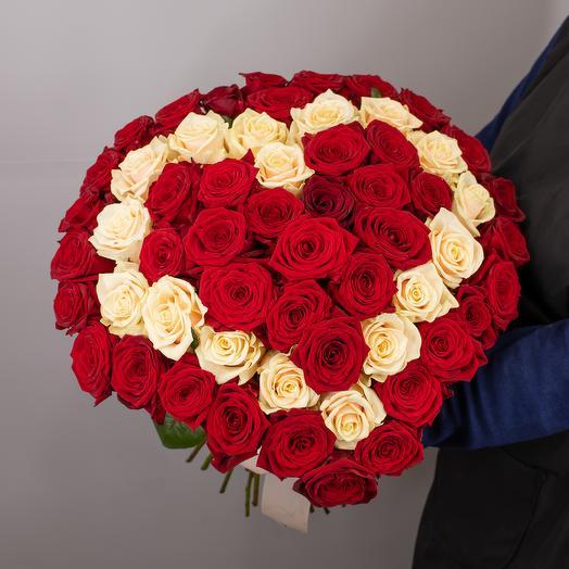 Букет Сердце 59 роз