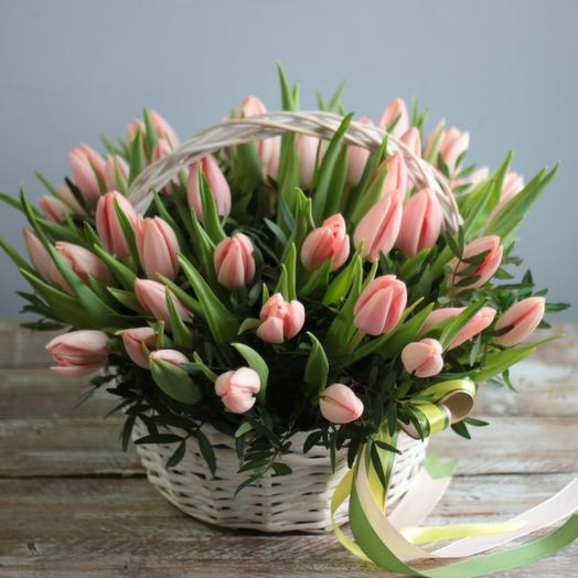 Basket of tulips