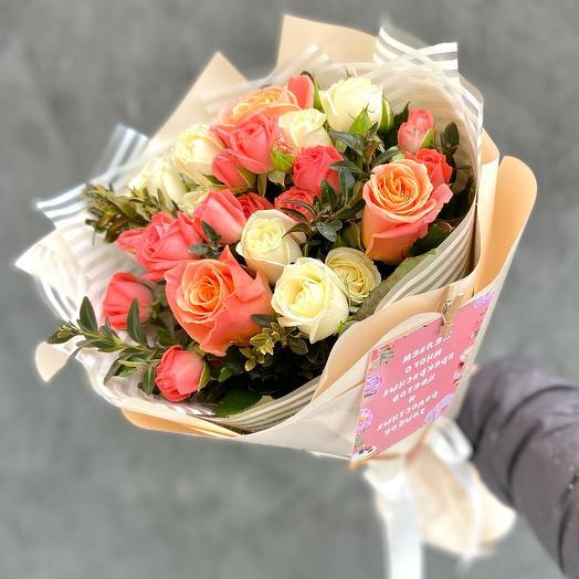 Букет кустовых роз, роз мисс пигги «Мелодия»