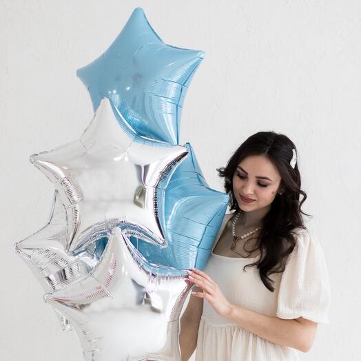 Сет шаров в бело-голубой палитре