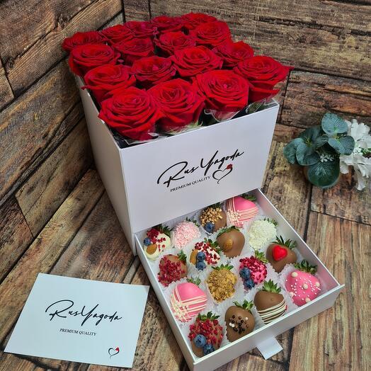 Цветы в коробке шкатулке