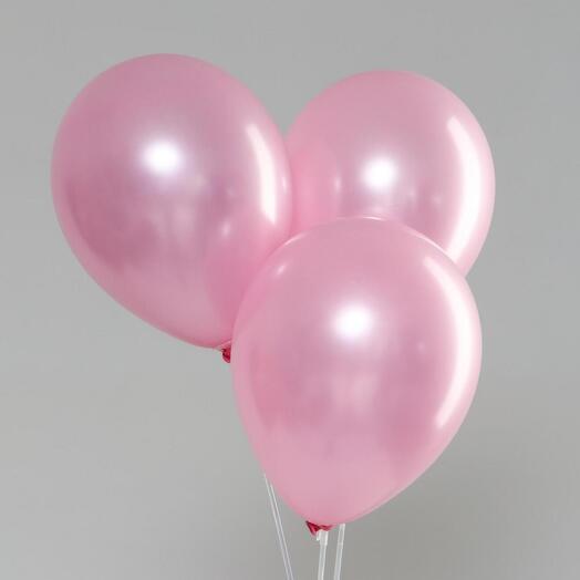 Шар с гелием розовый металлик