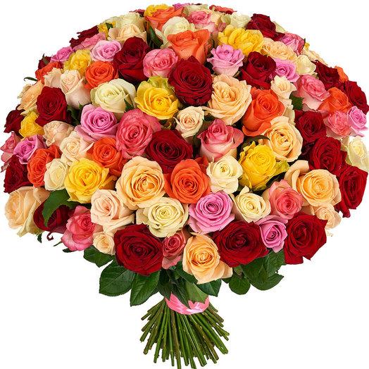 Букет из 101 розы Россия 60 см Фейерверк чувств