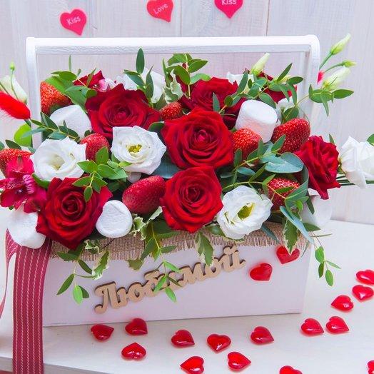 Ящик ко дню святого Валентина: букеты цветов на заказ Flowwow