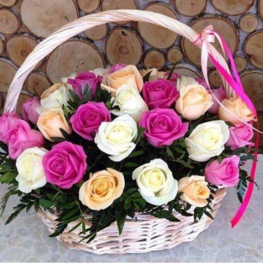 Корзины с цветами. Розы. 29 роза. N69: букеты цветов на заказ Flowwow