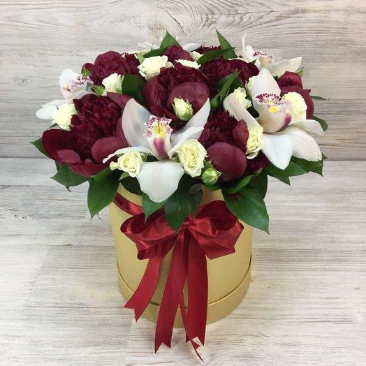 Пионы , Орхидеи , Кустовые розы.  N87: букеты цветов на заказ Flowwow