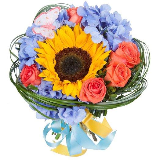 Букет с гелиантусом и гортензией: букеты цветов на заказ Flowwow