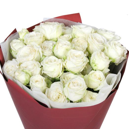 """Букет из 9 белых кустовых пионовидных роз """"Мисс Бомбастик"""": букеты цветов на заказ Flowwow"""