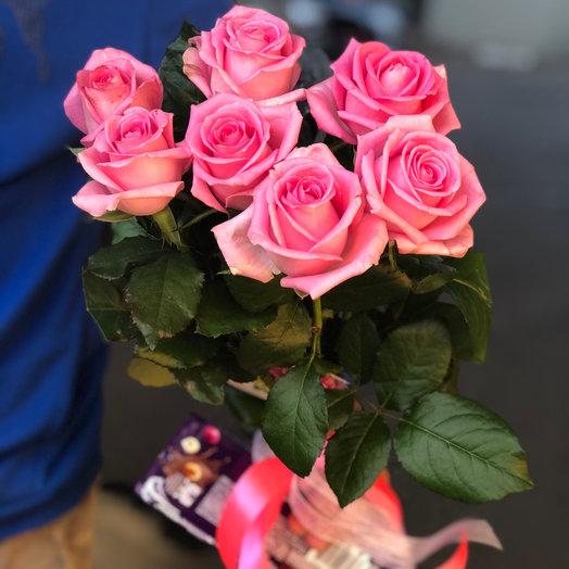 Букет из 7 розовых роз 60 см: букеты цветов на заказ Flowwow