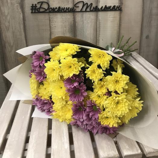 Букет кустовых хризантем «Хорошее настроение»: букеты цветов на заказ Flowwow
