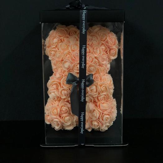 Мишка из 3D роз-25 см + коробка в подарок: букеты цветов на заказ Flowwow