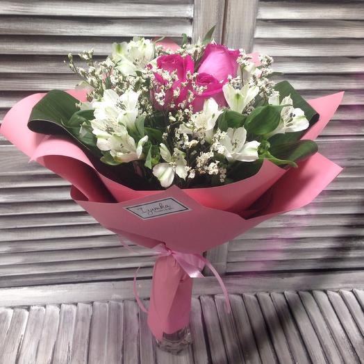 """""""Тая"""" букет из роз, альстромерий и лимониума: букеты цветов на заказ Flowwow"""