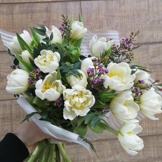 Пионовидные тюльпаны для солнечного настроения: букеты цветов на заказ Flowwow