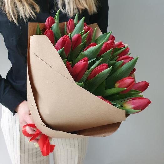 Красные тюльпаны 25шт: букеты цветов на заказ Flowwow