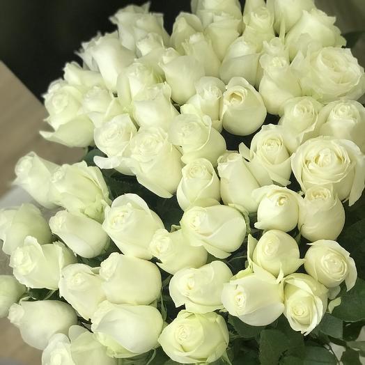 51 белоснежная Роза Премиум