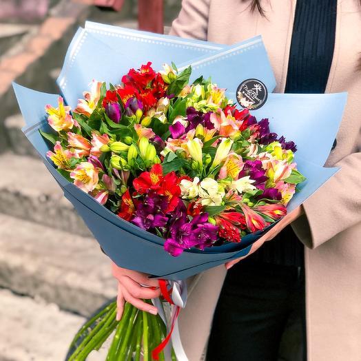 Стильный микс альстромерий: букеты цветов на заказ Flowwow