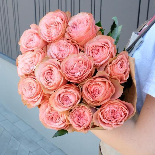 15 Kahala peony roses in Kraft paper