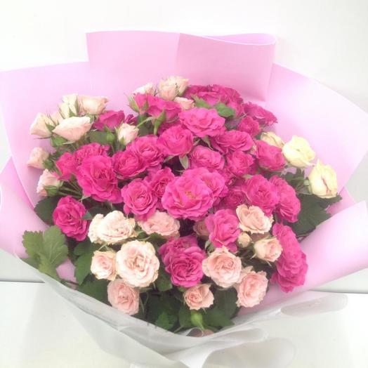 Букет  15 роз кустовых свежих «Встреча»