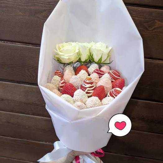 Букет Роз и Сладкой Клубники