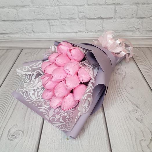 Букет из 17 мыльных тюльпанов