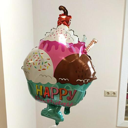 """Воздушный шар с гелием """"Мороженое в креманке"""""""
