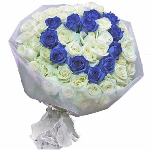 Голубое сердце: букеты цветов на заказ Flowwow