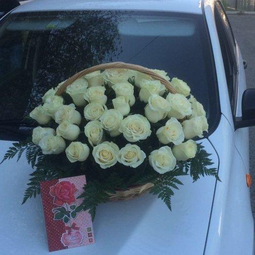 Цветочная корзина голландские розы 51