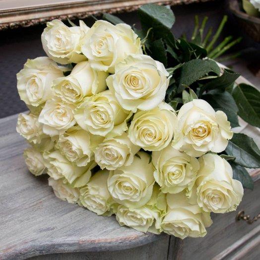 Букет из 19 белых голландских роз 50 см: букеты цветов на заказ Flowwow
