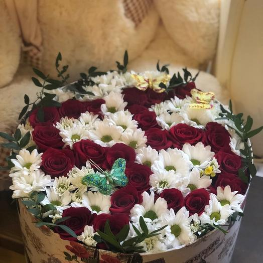 "Коробка с цветами на юбилей ""Юбилейная """