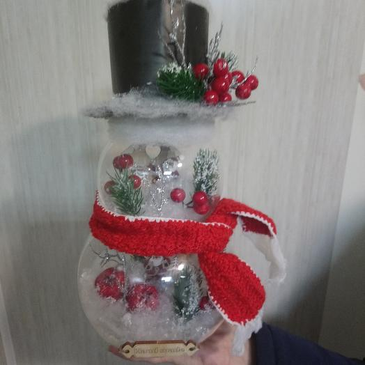 Стеклянный снеговик: букеты цветов на заказ Flowwow