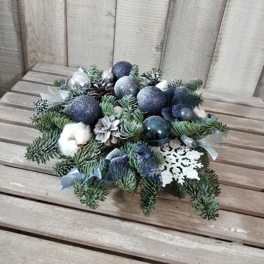 """Настольная композиция """"blue magic"""": букеты цветов на заказ Flowwow"""
