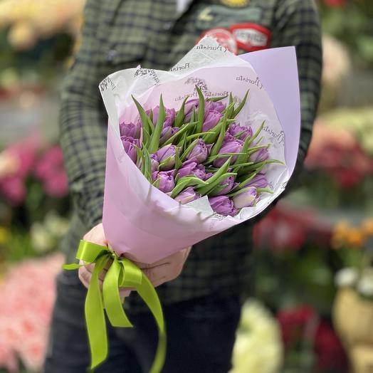 Букет сиреневых Тюльпанов: букеты цветов на заказ Flowwow