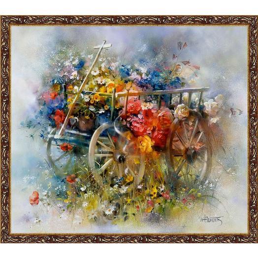 "Картина на холсте, ""Тележка цветов"", 80х60 см., художник - Willem Haenraets. Арт. ХВ-х49: букеты цветов на заказ Flowwow"